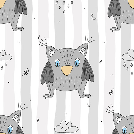 Hand drawn vector Cute seamless pattern with Cute owl.