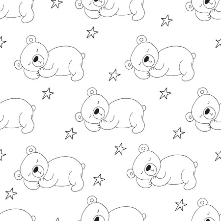 Cute seamless pattern with funny teddy bear. vector illustration. Çizim