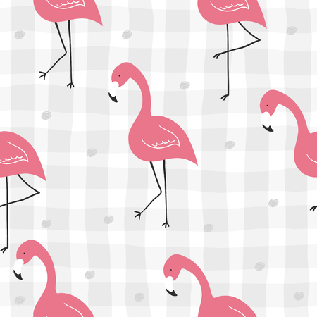 Cute hand drawn seamless pattern with pink flamingo. Vector print.