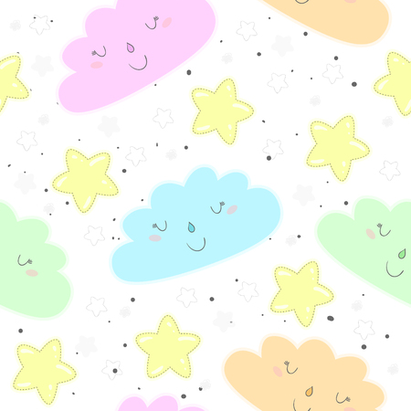 Colorful clouds and stars seamless pattern illustration.