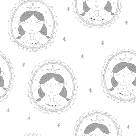 Cute hand drawn portrait of a princess in a frame. vector pattern.