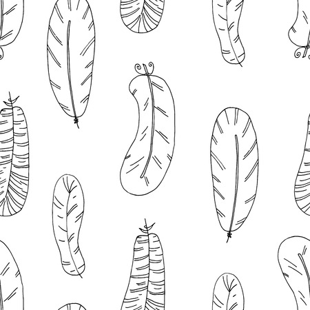 Hand drawn seamless pattern with Feathers. vector illustration