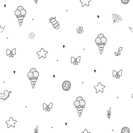 Black and white seamless floral pattern. vector print. Illustration