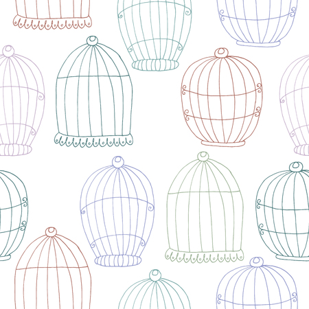 Seamless pattern with Hand drawn Birdcage.  Vector illustration. Illustration