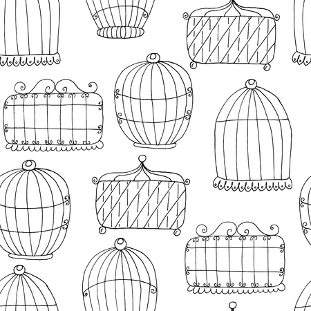 Seamless pattern with Hand drawn Birdcage. Vector illustration.