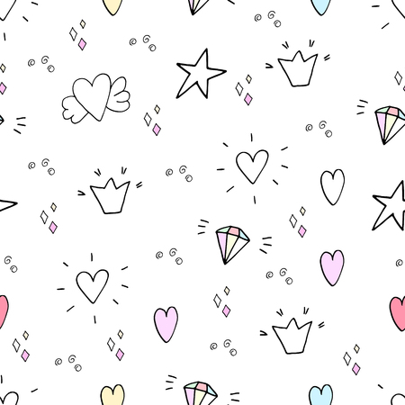pattern with hand drawn heart and stars