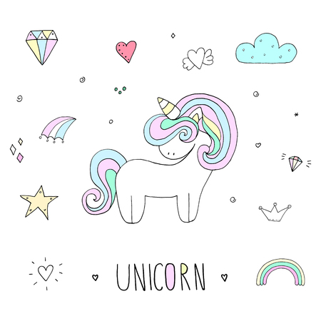 Cute unicorn print for kids. Vector illustration.