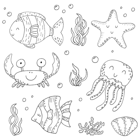 Illustration Vector doodle set of elements of marine life. Underwater World collection. Icons and symbols hand drawing sketch. Illustration