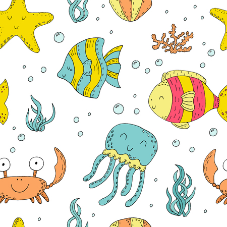 Illustration Vector doodle set seamless pattern of elements of marine life. Underwater World collection