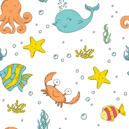 Hand drawn seamless pattern with cute crabs and fish Illustration