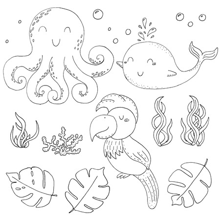 Illustration Vector doodle set with animals. vector print.. Icons and symbols hand drawing sketch.