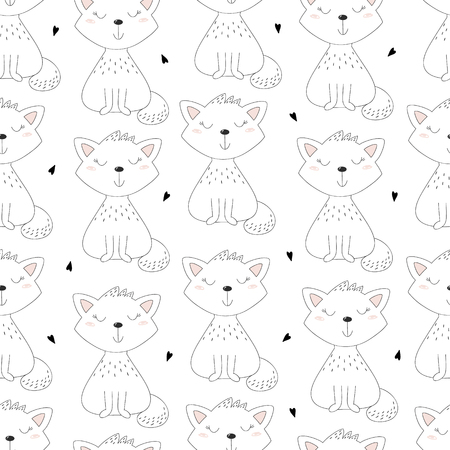 Cute hand drawn cat pattern