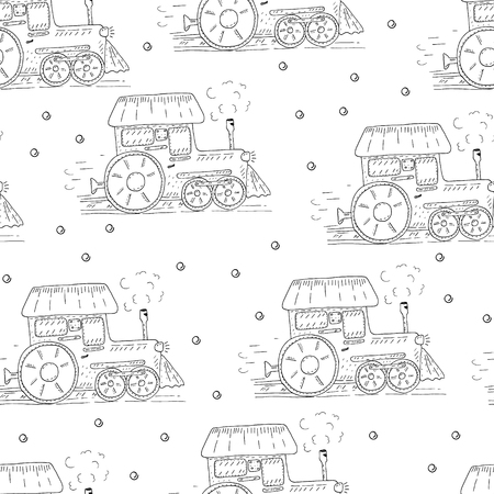 Cute hand drawn seamless pattern with cartoon trains.