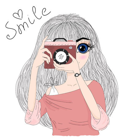 Hand drawn cute fashion cartoon girl with camera in his hands. Vector illustration