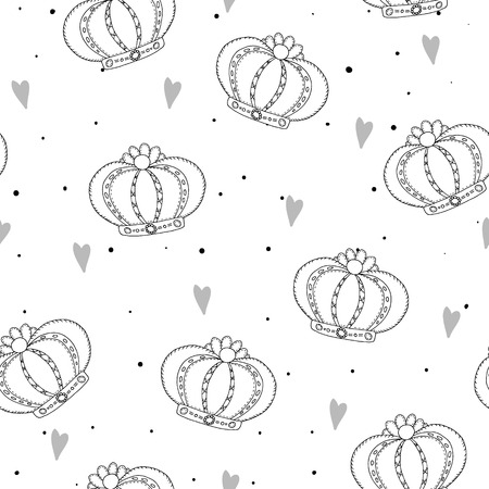 Hand drawn pattern with crown. Doodle design Little princess.