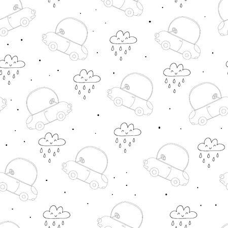 seamless pattern with retro cartoon car. vector print Illustration