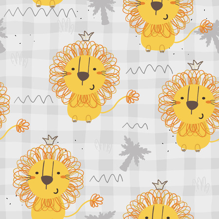 Cute little lion cartoon style. Vector pattern.