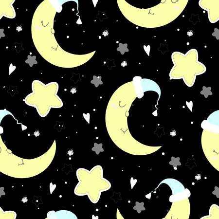 Moon and stars pattern vector illustration.