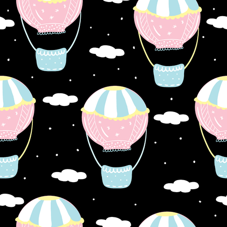 Vector seamless pattern with colorful air balloon in the sky