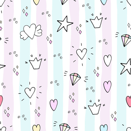 pattern with hand drawn heart and stars.