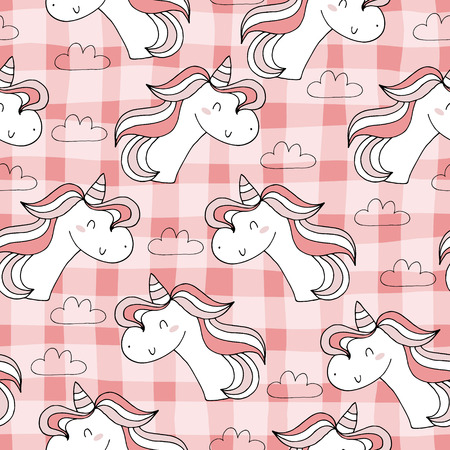 Cute hand drawn unicorn vector pattern. vector illustration. Illustration