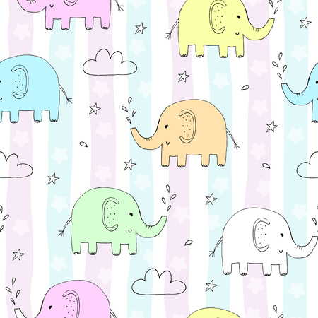 Colored seamless pattern with elephants Illustration