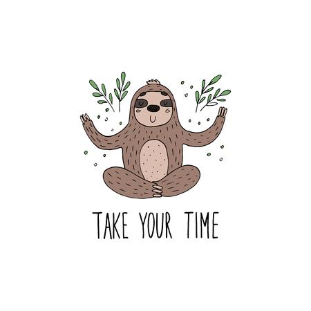 Cute hand drawn sloths, funny vector illustrations. vector print  イラスト・ベクター素材