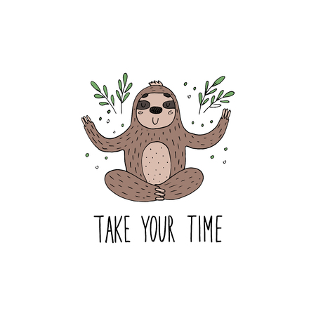 Cute hand drawn sloths, funny vector illustrations. vector print Ilustrace