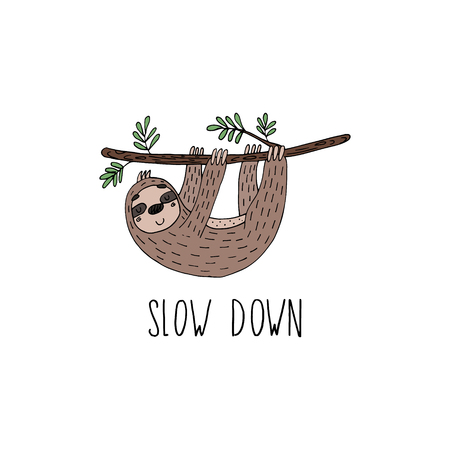 Cute hand drawn sloths, funny vector illustrations. vector print.