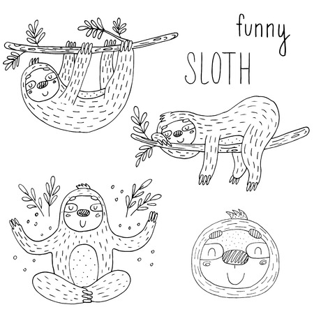 Vector set of cute sloths. funny vector illustrations. vector print