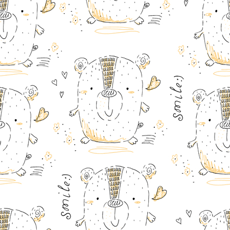 seamless pattern with Sketch doodle bear print.