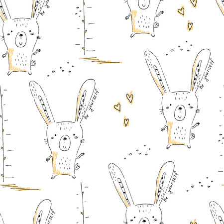 seamless pattern with Sketch doodle rabbit print. Illustration