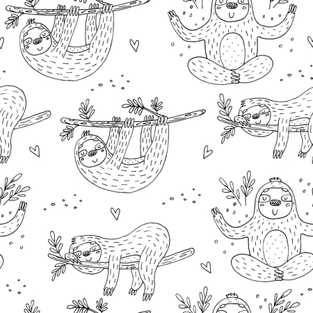 Pattern with cute doodle sloth print