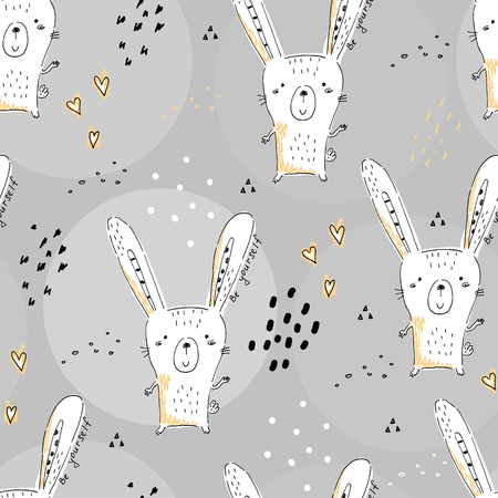 seamless pattern with Sketch doodle rabbit print. Stock Photo