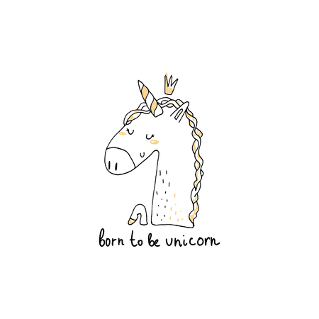 Cute hand drawn unicorn print. Vector illustration. Stock Photo