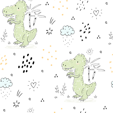 Childish seamless pattern with hand drawn dino