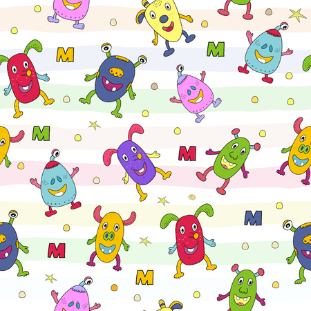 Cute hand drawn monsters cartoon style. vector pattern. Illustration