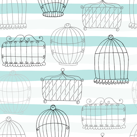 Seamless pattern with Hand drawn Birdcage. Vector Print. Illustration