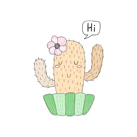 Cute cartoon cactus. Childish print for nursery. Vector Illustration. Ilustrace