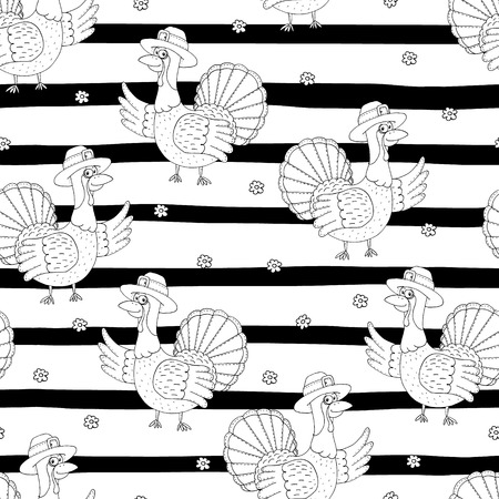 Hand drawn seamless pattern with Cartoon Turkey. Pattern print for kids