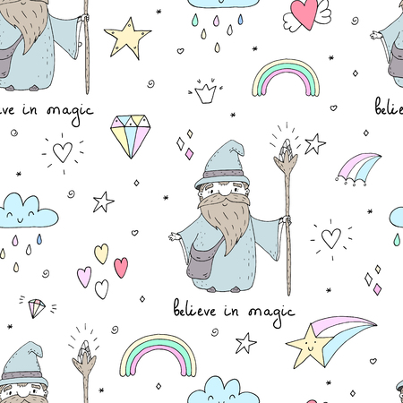 Cute hand drawn seamless pattern with Wizard. vector print. Vectores