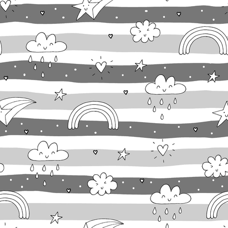 seamless clouds and stars pattern vector illustration.