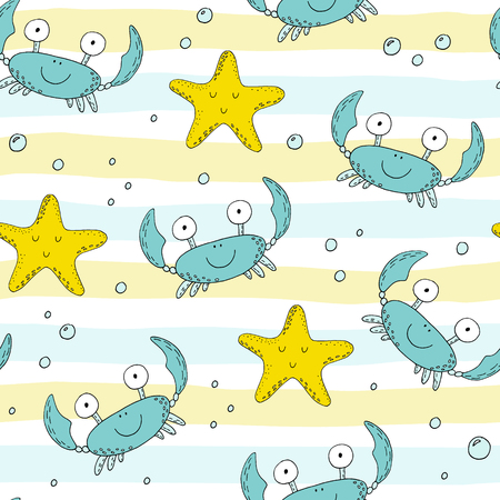 Hand drawn seamless pattern with cute crabs