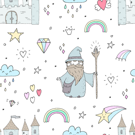 Cute hand drawn seamless pattern with Wizard. vector print.