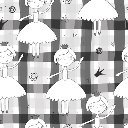 Cute hand drawn with cute little girl vector seamless pattern illustration.  イラスト・ベクター素材
