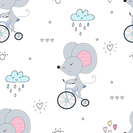 hand drawn Sample pattern with little mouse riding a bicycle. Illustration