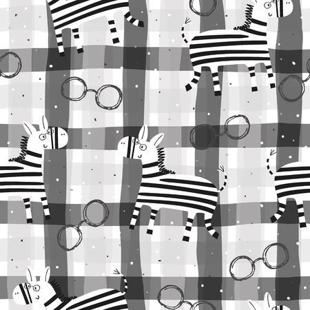 Cute hand drawn funny zebra Seamless pattern