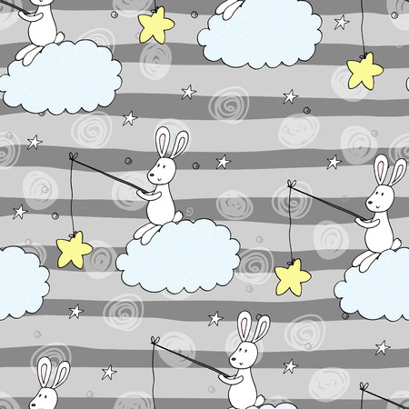 Seamless pattern with cute little bunny. vector illustration.