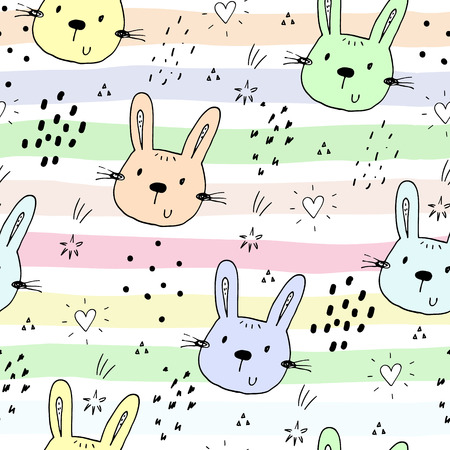 Cute seamless pattern with funny Animals. Vector Illustration Illustration