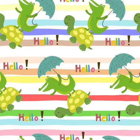 Seamless pattern with cute turtle and crocodile. vector print